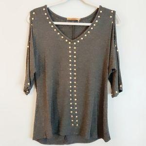 Belldini Graphite Knit Studded Cold Shoulder Top